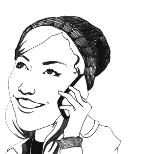 Girl on phone illustration