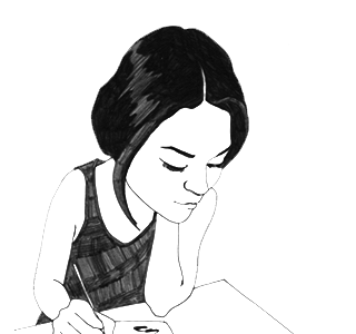 Girl reading book illustration